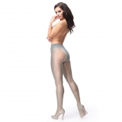 Miss O 40 Denier Shiny Open-Crotch Pantyhose Grey