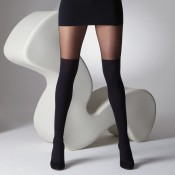 Black Ribbed Over the Knee Tights, sheer at thigh