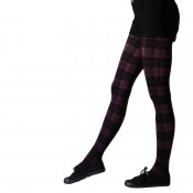 tartan bright plum tights