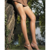 Micronets with deep lace tops, in black and sabbia (nude/natural)