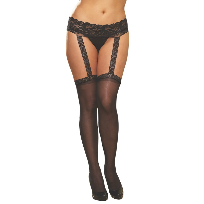 dreamgirl verona sheer garter belt pantyhose D0013 queen size