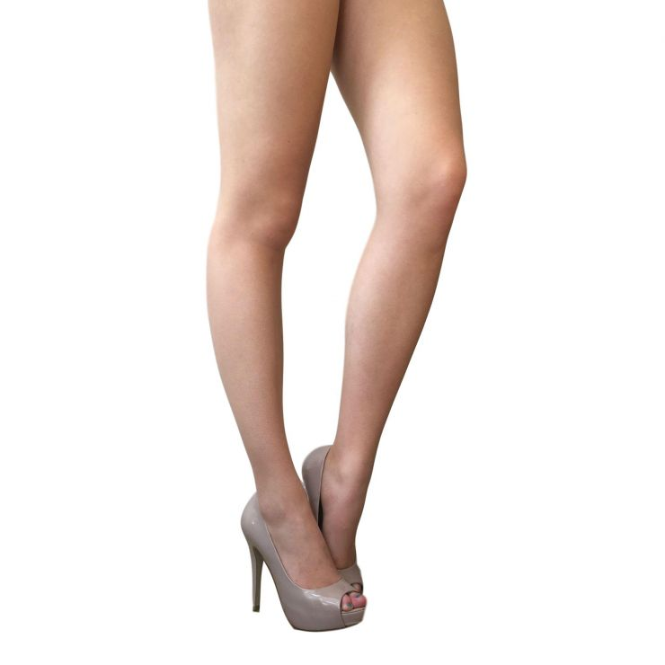 Natural Tights With Peep Toe Shoes