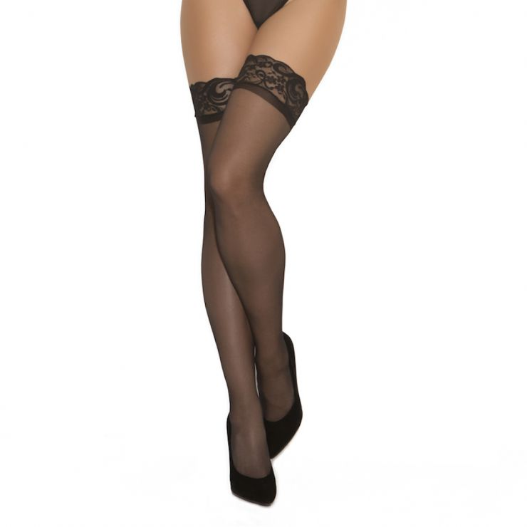 elegant moments sheer lace top suspender stockings black