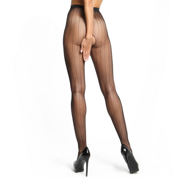 miss o fishnet open gusset pantyhose with pinstripe design