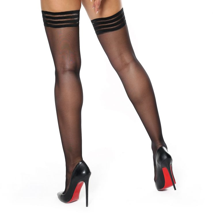 miss o decorative top silky hold up stockings glossy black