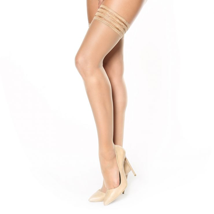miss o decorative top silky hold up stockings visone