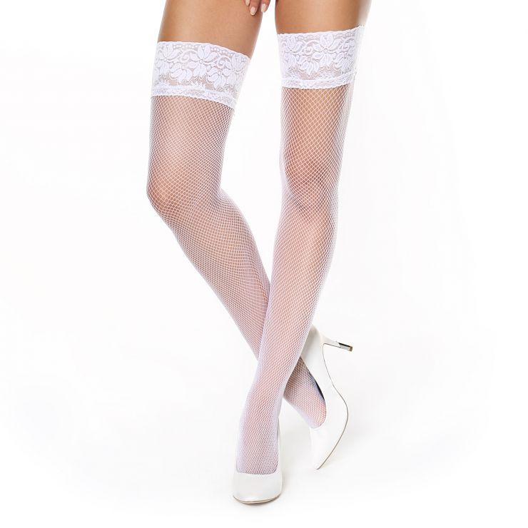 miss o lace top fishnet hold up stockings white