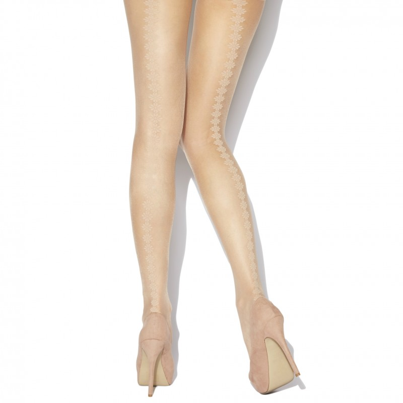 charnos backseam floral tights natural
