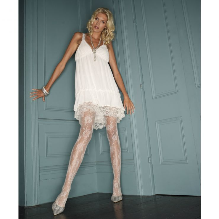 charnos ivory floral net tights