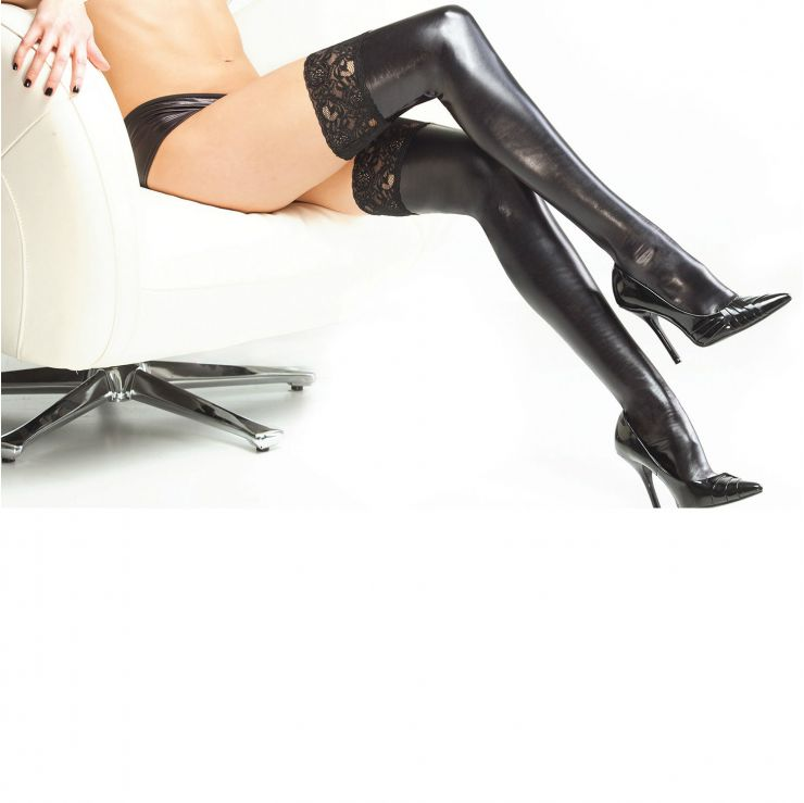 coquette wet look thigh high stay up stockings