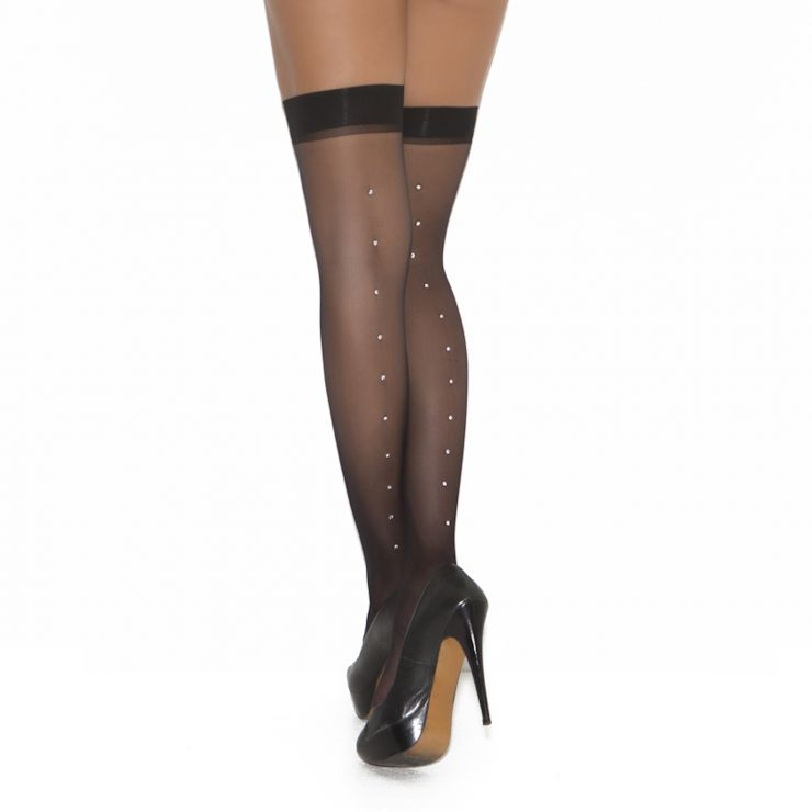 elegant moments stockings with rhinestone seams