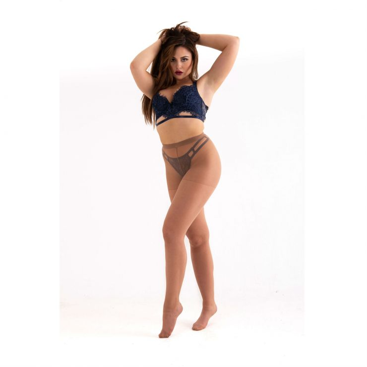 essexee legs plus size open crotch tights honey