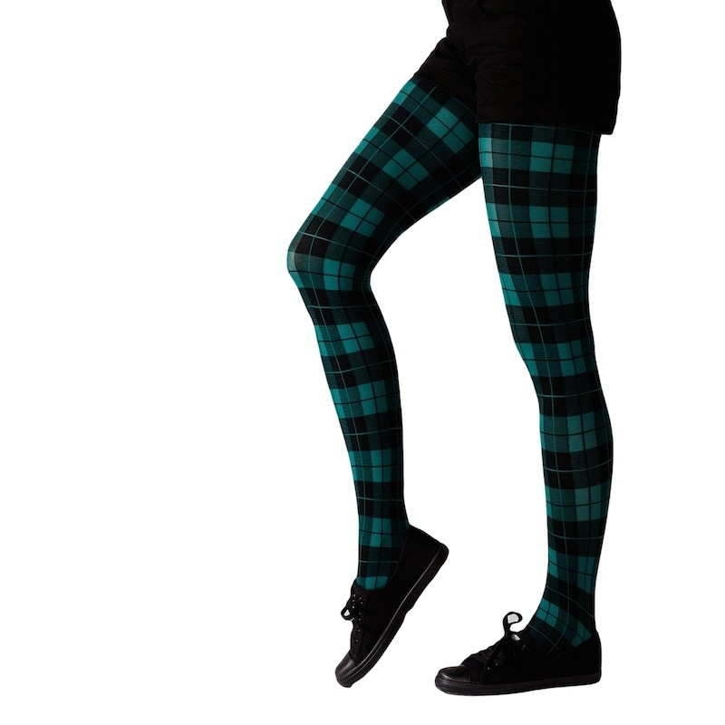gipsy tartan bright tights green