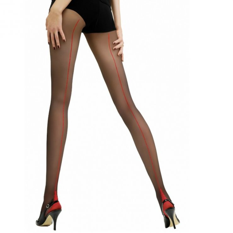 jonathan aston contrast seam heel tights black scarlet