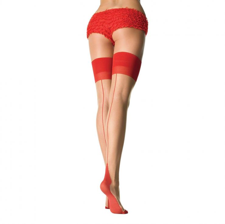 leg avenue sheer contrast seam & heel stockings nude red
