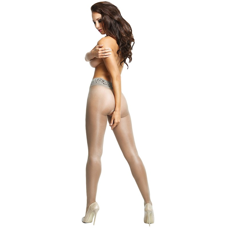 miss o open gusset gloss pantyhose lace belt gray
