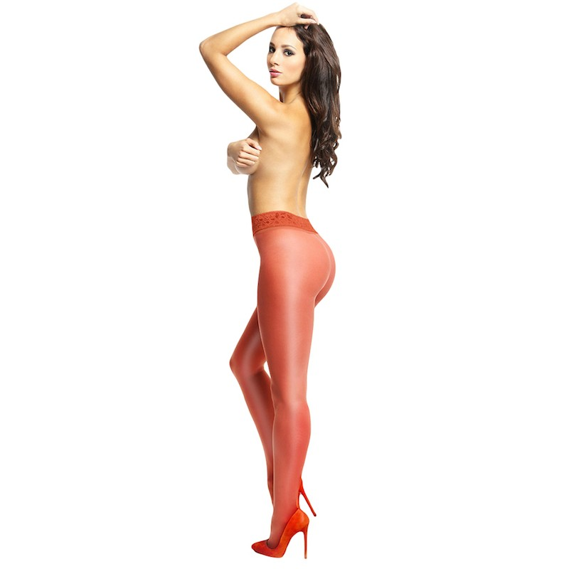 miss o red open gusset gloss pantyhose with lace belt