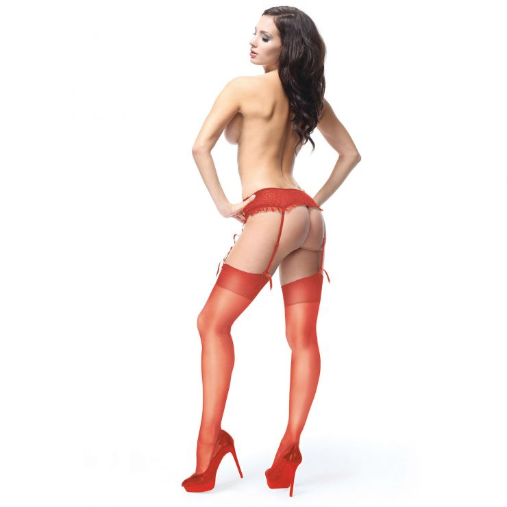 miss o shiny suspender stockings raspberry red