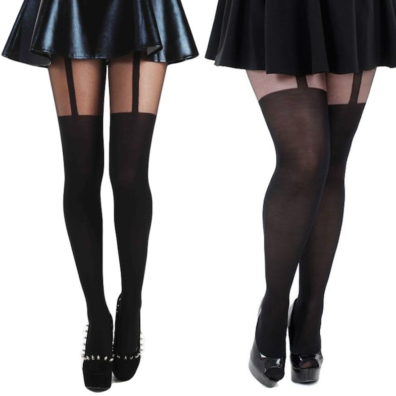 pamela mann plain stripe suspender tights