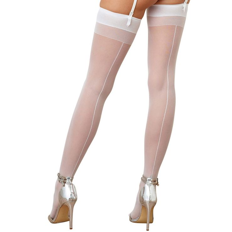 0007 dreamgirl sheer white thigh high stockings back seam