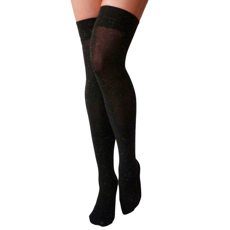 trasparenze deejey lurex over knee socks black gold