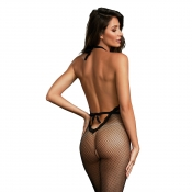 0315 dreamgirl fishnet bodystocking with plunge neckline
