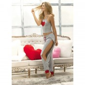 7237 mapale grey two piece loungewear set with heart