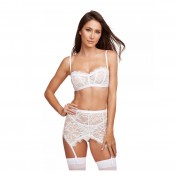 11499 dreamgirl white 3 piece lace garter skirt set