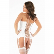 cq-1057 coquette lace over satin boned corset lace-up back