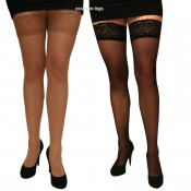 10 denier lace top hold ups stockings, black or natural