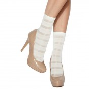 charnos stripe ankle highs white