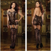 dreamgirl plus size lace fishnet halter garter dress