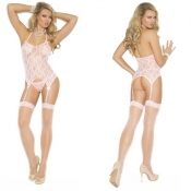 elegant moments 3 pc pink lace cami, stockings, g-string set