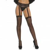 elegant moments lace top stockings with garter belt