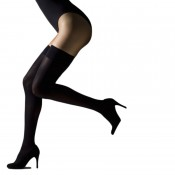 Luxurious black opaque hold ups with invisible tops