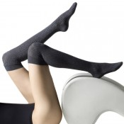 Cosy over knee socks in beige or grey marl.