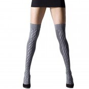 Cable thigh socks, cable can be worn at front or back.