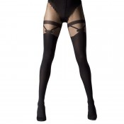 Mock suspender tights with bow and garter detail