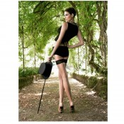 Lace top hold ups in cosmetic black and black black