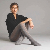 jonathan aston grey cable knit stripe tights