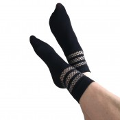 jonathan aston lurex fishnet stripe ankle socks