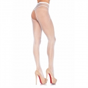 leg avenue white open gusset fishnet tights