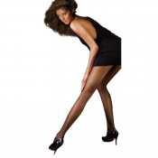 Sheer seamed tights in black for heights to 6ft1""