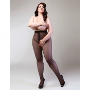 miss naughty 50 denier opaque open-crotch tights plus size
