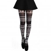Black and white Fair Isle patterned tights